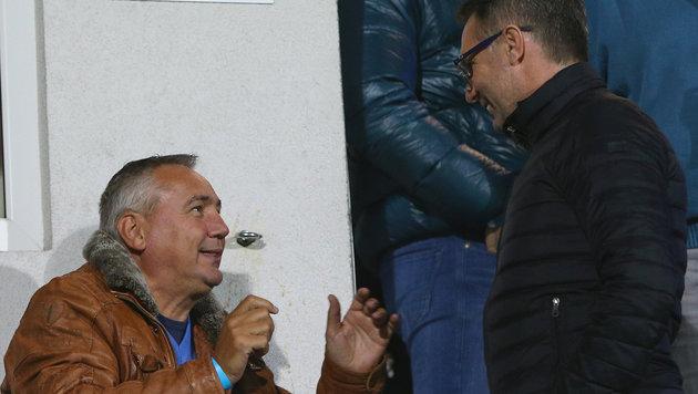Peter Pacult mit Neo-Rapid-Coach Damir Canadi (Bild: GEPA pictures)