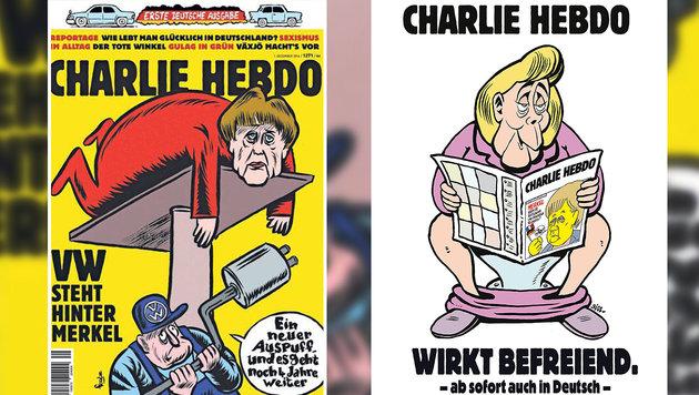"""Merkel strippt in """"Charlie Hebdo"""" für freie Welt (Bild: APA/AFP/Charclie Hebdo)"""