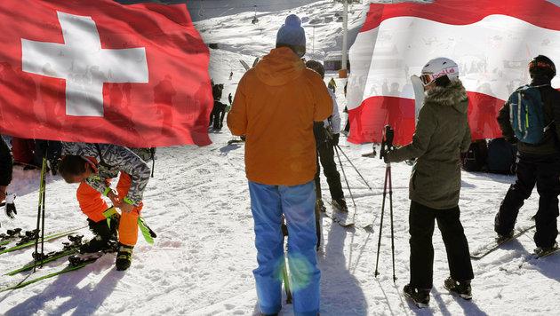 Schweizer streiten mit uns über besseren Ski-Stil! (Bild: APA/AFP/PHILIPPE DESMAZES, thinkstockphotos.de)
