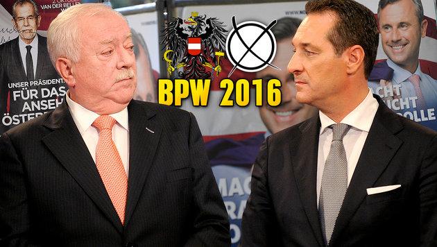 Michael Häupl und Heinz-Christian Strache steigen für die Hofburg-Kandidaten in den Ring. (Bild: APA/ROLAND SCHLAGER, krone.at-Grafik)