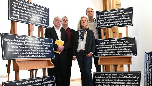 Oliver Rathkolb, Martin Margulies, Susanne Bluma und Andreas Mailath-Pokorny (v.l.n.r.) (Bild: APA/HELMUT FOHRINGER)