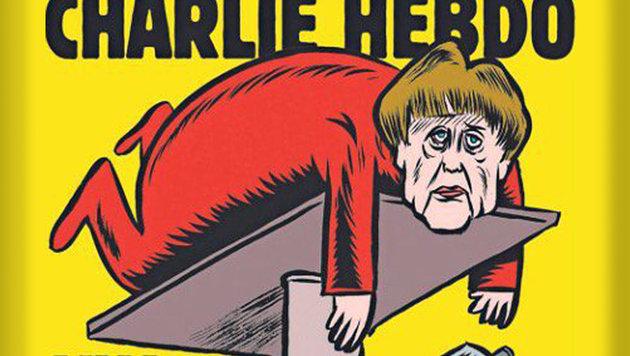 """""""Charlie Hebdo"""": Merkel braucht """"neuen Auspuff"""" (Bild: APA/AFP/CHARLIE HEBDO/HANDOUT)"""