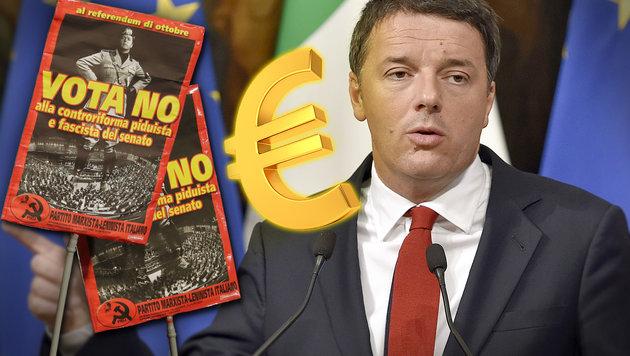 Demo-Plakat mit Matteo Renzi in Mussolini-Pose: Dem Premier wird Hochmut vorgeworfen. (Bild: AP, APA/AFP/ANDREAS SOLARO, thinkstockphotos.de)