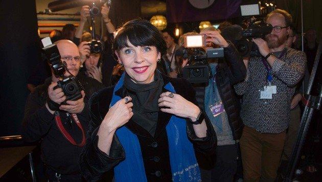 Birgitta Jonsdottir könnte Regierungschefin in Island werden. (Bild: APA/AFP/HALLDOR KOLBEINS)