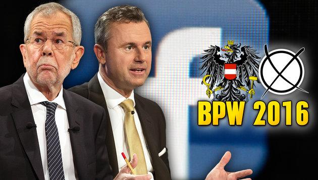 So tobt der Präsidenten-Wahlkampf auf Facebook (Bild: AP, ORF/THOMAS JANTZEN, APA/GEORG HOCHMUTH)