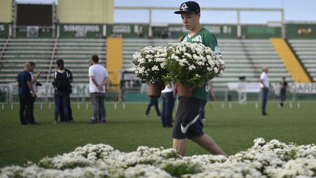 Im Stadion des FC Chapecoense wurden Blumen auf dem Rasen aufgestellt. (Bild: APA/AFP/DOUGLAS MAGNO)