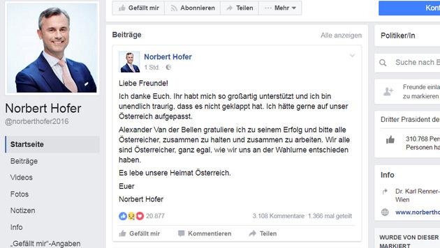 """Wahlverlierer Hofer: """"Ich bin unendlich traurig"""" (Bild: facebook.com)"""