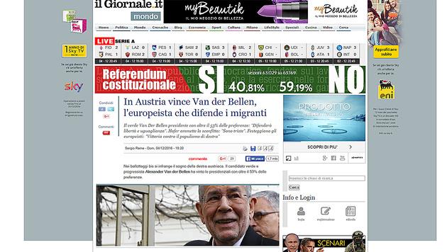 """Als """"europafreundlichen Einwanderungsbefürworter"""" bezeichnete """"Il Giornale"""" Van der Bellen. (Bild: Il Giornale)"""