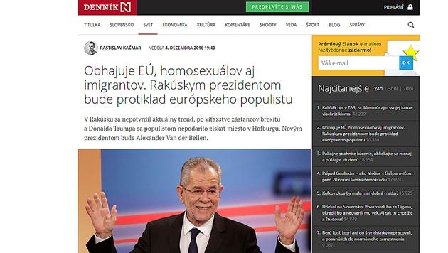 """""""Dennik N"""" erklärte, dass Van der Bellen für die EU, Homosexuelle und Immigration sei. (Bild: Dennik N)"""