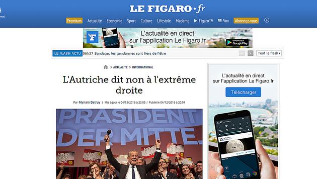 """""""Le Figaro"""" war sich sicher, dass Van der Bellen """"Risse kitten"""" müsse. (Bild: Le Figaro)"""