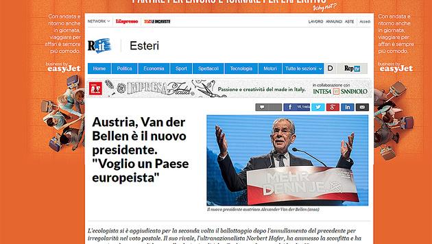 """""""La Repubblica"""" schrieb: """"Van der Bellen ist der neue Präsident Österreichs."""" (Bild: La Repubblica)"""