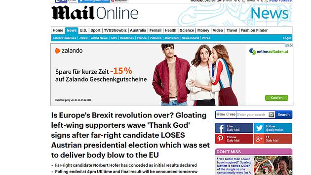 """Die """"Daily Mail"""" meinte, mit Van der Bellen sei """"Europas Brexit-Revolution"""" vorbei. (Bild: Daily Mail)"""