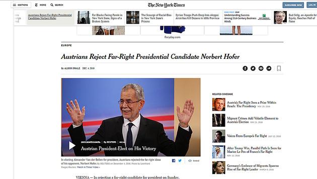 """Van der Bellen und Hofer schafften es auch in die """"New York Times"""". (Bild: The New York Times)"""