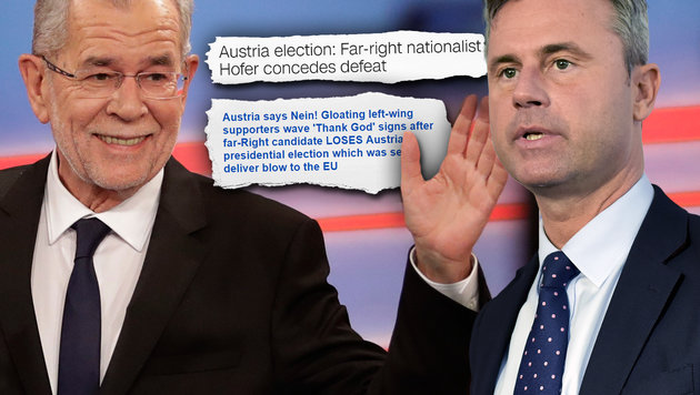 """""""Austria says Nein!"""" So sieht die Welt unsere Wahl (Bild: AP, APA/HERBERT NEUBAUER, CNN, Daily Mail)"""