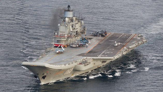 "Der russische Flugzeugträger ""Admiral Kusnezow"" (Bild: AFP)"
