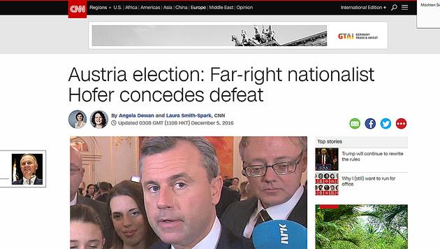 """CNN titelte: """"Rechts-außen-Nationalist muss Niederlage eingestehen"""". (Bild: CNN)"""