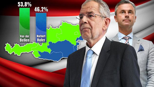 Der große Überblick: So wählten die Bundesländer (Bild: APA/HELMUT FOHRINGER, thinkstockphotos.de, krone.at-Grafik)