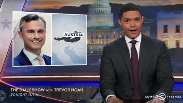 Unsere Bundespräsidentenwahl hat es bis ins US-Fernsehen geschafft - zumindest Norbert Hofer. (Bild: facebook.com/The Daily Show)