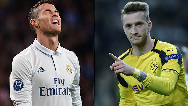 Frust aufseiten Real Madrids Ronaldo, positive Entschlossenheit bei Dortmunds Reus (Bild: APA/AFP/JAVIER SORIANO,)
