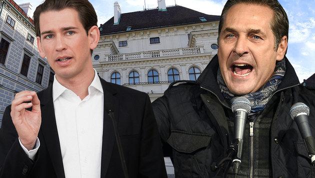 Kurz und Straches FPÖ schneiden in der Umfrage gut ab. (Bild: APA/GEORG HOCHMUTH, APA/HELMUT FOHRINGER)