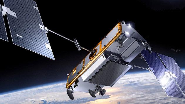 """Künstlerische Darstellung: Ein Satellit der """"Iridium-NEXT""""-Flotte im Erdorbit. (Bild: Thales Alenia Space)"""
