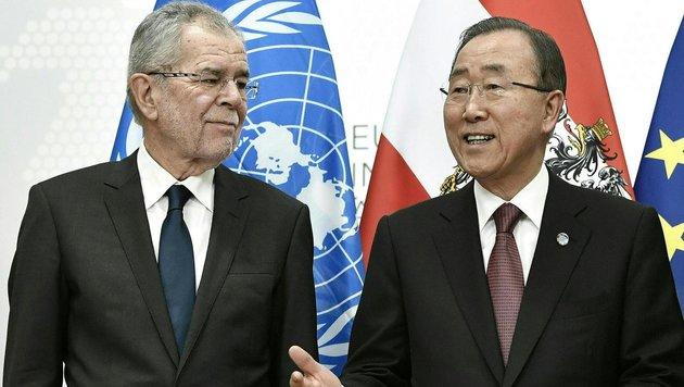 Van der Bellen traf UNO-Chef Ban Ki Moon in Wien (Bild: APA/HANS KLAUS TECHT)