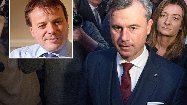 Arron Banks (links) bedauert die Wahlniederlage Norbert Hofers. (Bild: APA/AFP/JOE KLAMAR, twitter.com/Arron Banks)
