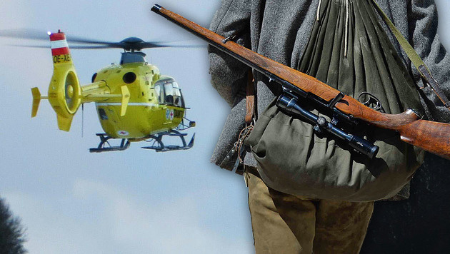 Ein Rettungshelikopter brachte den Schwerverletzten ins Krankenhaus. (Bild: APA/BArbara Gindl, APA/ÖAMTC/UNBEKANNT)