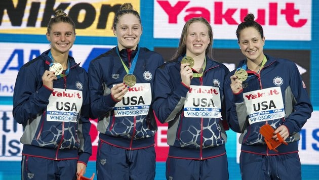 US-Lagenstaffel mit Weltrekord, 2 Titel an Hosszu (Bild: AP)