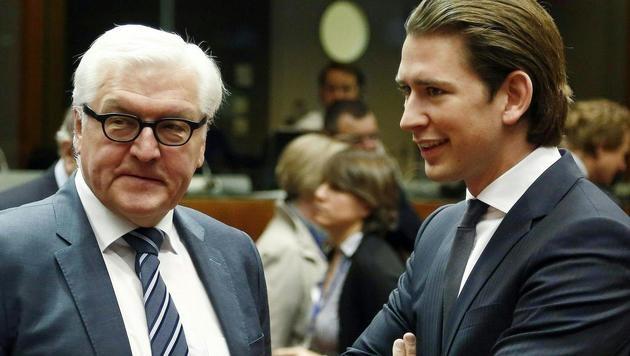 Kurz und der deutsche Außenminister Frank-Walter Steinmeier, ein Befürworter der Türkei-Gespräche (Bild: APA/AUSSENMINISTERIUM/DRAGAN TATIC)