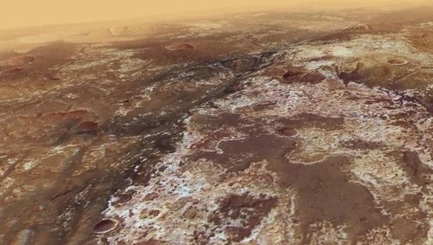 Videoclip simuliert Überflug von Tal auf dem Mars (Bild: ESA/DLR/FU Berlin (CC BY-SA 3.0))