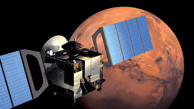 """Künstlerische Illustration: """"Mars Express"""" im Orbit um den Roten Planeten (Bild: ESA/Medialab)"""
