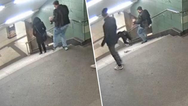 Mit diesen Bildern wurde nach dem brutalen Vorfall nach dem U-Bahn-Treter gefahndet. (Bild: Polizei Berlin)