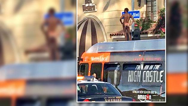 USA: Nackedei setzt sich auf Autobusdach in Szene (Bild: twitter.com/Tiffany Ma)