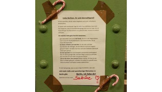 Nun veröffentlichte Sabine diesen Brief, in dem sie sich überwältigt und dankbar zeigt. (Bild: notesofberlin.com)