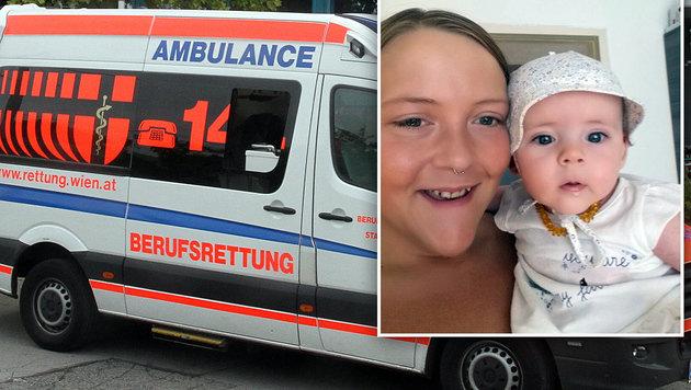 Mama Jasmin mit Töchterchen Emilie: Die 25-Jährige starb am Weg ins Krankenhaus. (Bild: Andi Schiel (Symbolbild), Repro Christian Schulter)