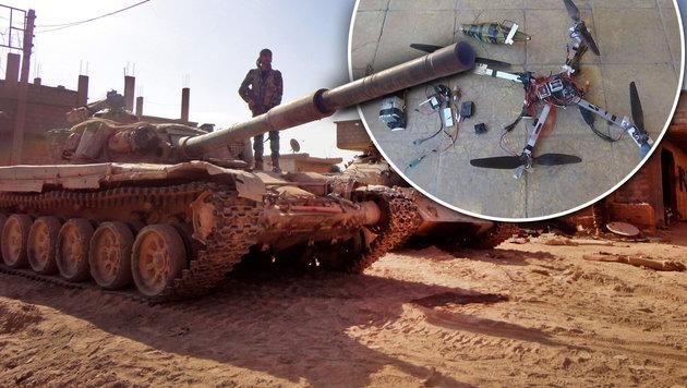 IS setzt Drohnen mit RPG-7-Granaten ein (Bild: twitter.com, APA/AFP/AYHAM AL-MOHAMMAD)