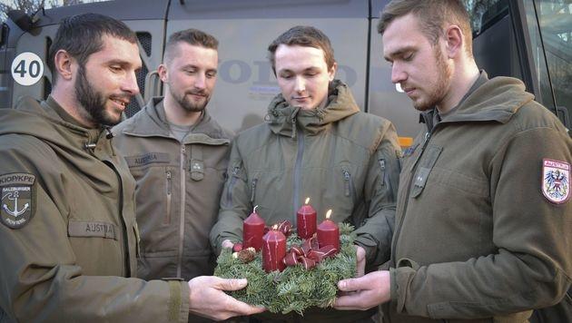 Kleine Adventfeier der Bundesheersoldaten an der serbischen Grenze (Bild: Bundesministerium für Landesverteidigung)