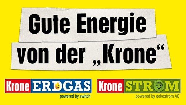 """Geldsparen mit der guten Energie von der """"Krone"""" (Bild: Kronen Zeitung, oekostrom AG, switch)"""