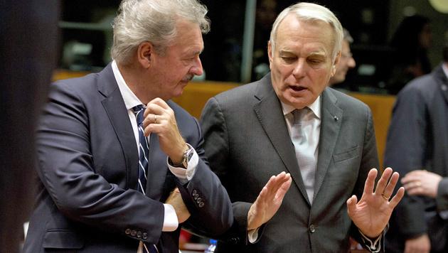 Asselborn (li.) und Frankreichs Außenminister Jean-Marc Ayrault (Bild: ASSOCIATED PRESS)
