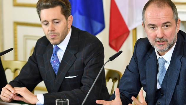 Die Koalitionskoordinatoren Mahrer (li.) und Drozda (Bild: APA/HELMUT FOHRINGER)