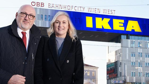 Andreas Matthä (ÖBB) und Viera Juzova (Ikea) wollen das Westbahnhof-Areal positiv beleben. (Bild: dpa/Simone Neumann, ÖBB)
