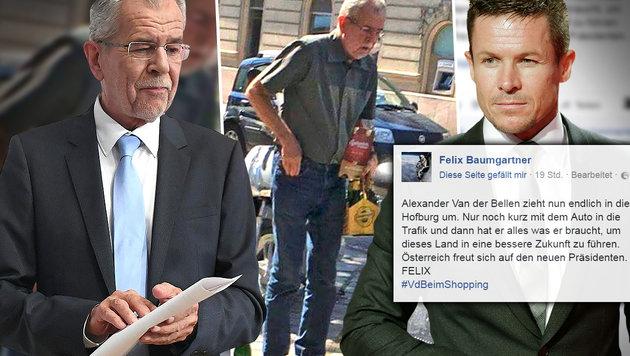 So beleidigt Felix Baumgartner den Präsidenten (Bild: facebook.com, APA/HELMUT FOHRINGER, AP)