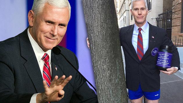 US-Vizepräsident-Doppelgänger mischt New York auf (Bild: AP, twitter.com)