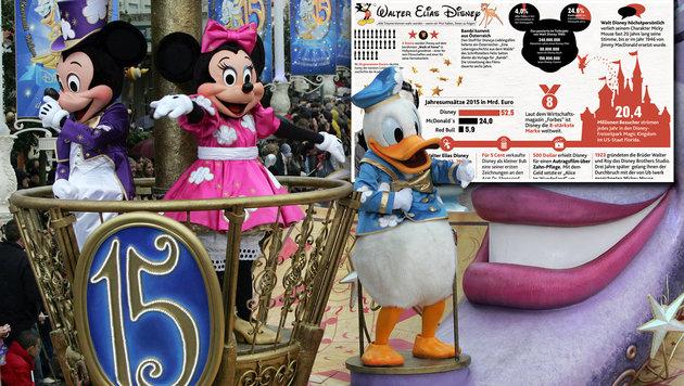 """Zum Todestag: Walt Disney, König des Kinderreichs (Bild: """"Krone""""-Grafik, FRANCOIS GUILLOT/AFP/picturedesk.com)"""
