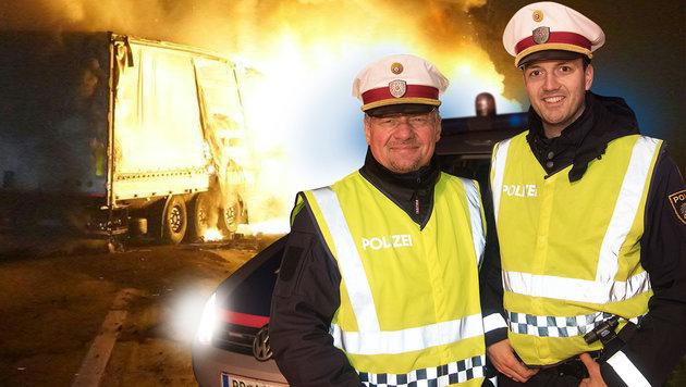 Die Polizisten Franz Rockenschaub (53) und Christoph Neuhauser (27) wurden zu Rettern. (Bild: APA/WERNER KERSCHABAUMMAYER, foto-kerschi.at)