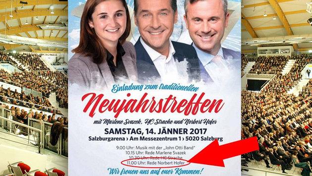 Strache oder Hofer: Posse um den Hauptredner (Bild: facebook.com, APA/Franz Neumayr)