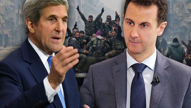 Kerry (li.) und Assad (Bild: APA/AFP/STRINGER, AFP/HO/SANA, AFP/JOHN THYS)