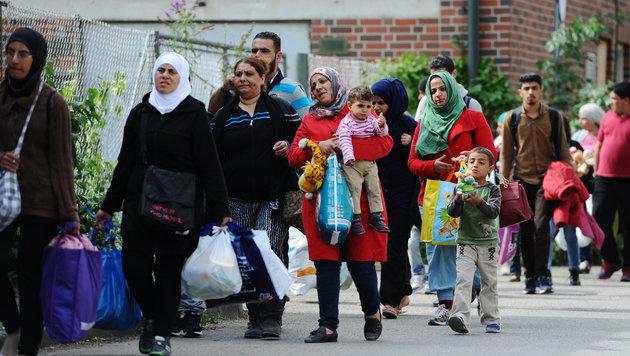 Eine Flüchtlingsfamilie in Deutschland (Bild: APA/dpa/Andreas Gebert)
