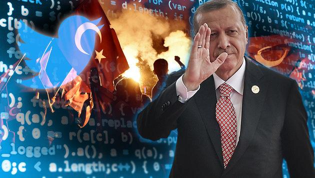 So manipuliert Erdogans Propaganda-Armee das Netz (Bild: APA/AFP/POOL/ETIENNE OLIVEAU, APA/AFP/ARIS MESSINIS)